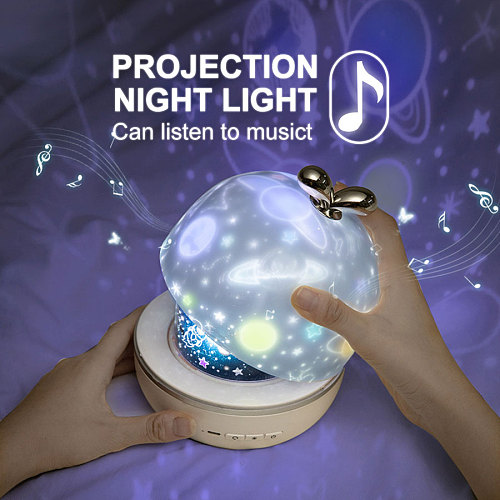 Starry Sky Projector Night Light With BT Speaker Remote Controller Rechargeable Rotate LED Lamp Colorful Star Kids Baby Gift
