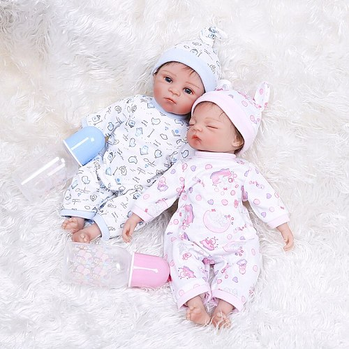 35CM twins in pink and blue dress Birthday Gift very soft silicone reborn tiny baby collectible toy very soft cuddly baby