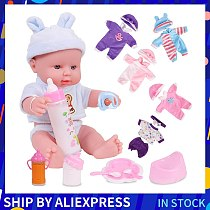 12 inches Baby Dolls Newborn Full Silicone Soft Girls Clothes Wig Toys Gift Role-Play Playmates Rubber Bebes Reborn Girl Toys