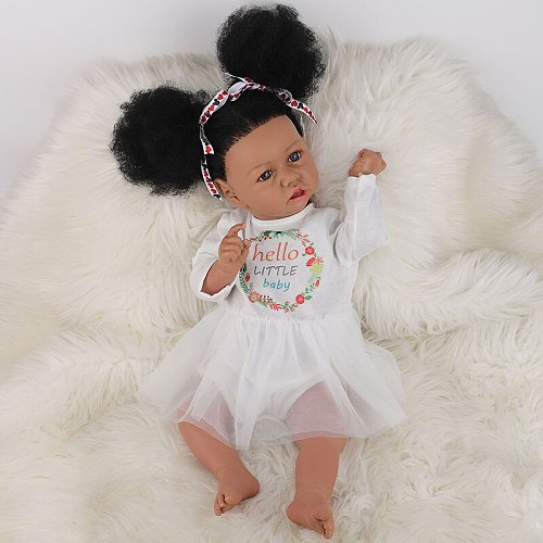 58CM Full Body Silicone African American Reborn Baby Doll Black Skin Saskia Baby Reborn Toddler Girl Baby Doll Real Touch