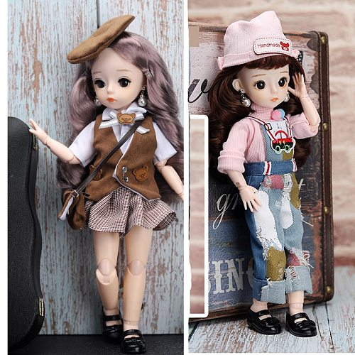 1/6 Cute BJD Dolls Toys For Girls 30CM 21 Movable Jointed Beauty Make-up Doll Fashion Dress Girls BJD With Jewelry Accessory Toy