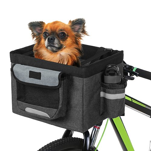 Foldable Bicycle Front Basket for Pet Removable Bike Pet Basket Pet Dog Cat Pet Carrier Camping Tote Bag