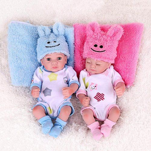 Twins Reborn Baby Dolls 25cm Alive Bebe Newborn Silicone Inteiro Mini Toddler Child Accompany Bath Play Toys Kids Birthday Gifts