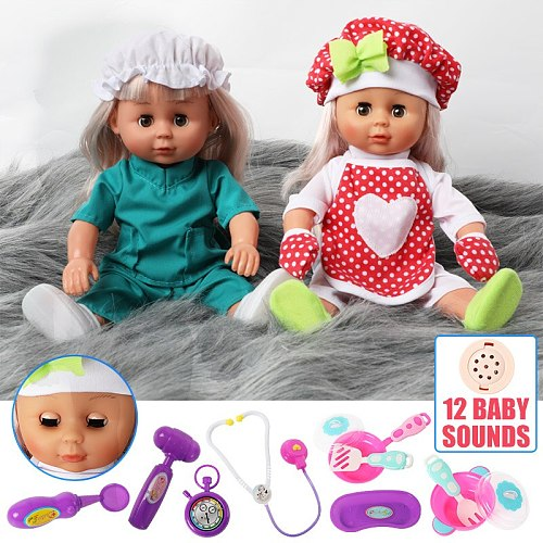 30cm bebe reborn Doll Simulation sound chef Doctor clothes sets 12 inch Silicone long hair Realistic Baby Dolls for Toys kids