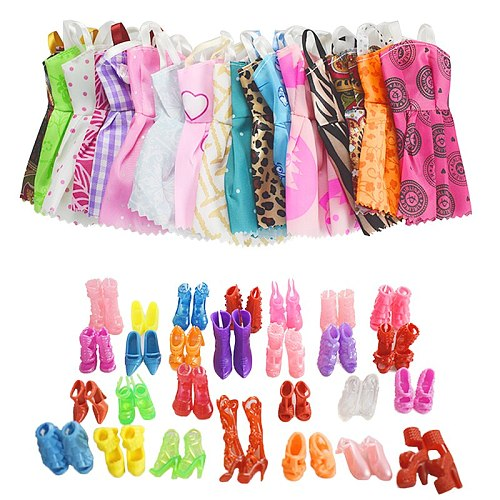 For Original Doll Accessories 5PCS Doll Clothes &10 Pairs of Random Shoes Fashion Party Princes Dress Girls Gift