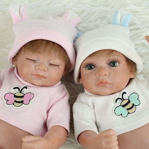 Full Silicone Lifelike Reborn Baby Twin Dolls Precious Collectible Boy and Girl Dolls for Twins Baby Christmas New Year Gifts