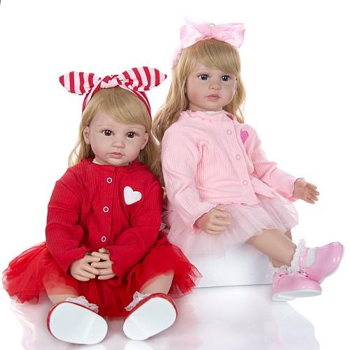 Fashion Reborn Baby Dolls 60 cm Silicone Soft Vinyl Twins Truly Princess Newborn Girl Dolls Boneca Toys For Kid Xmas Gift