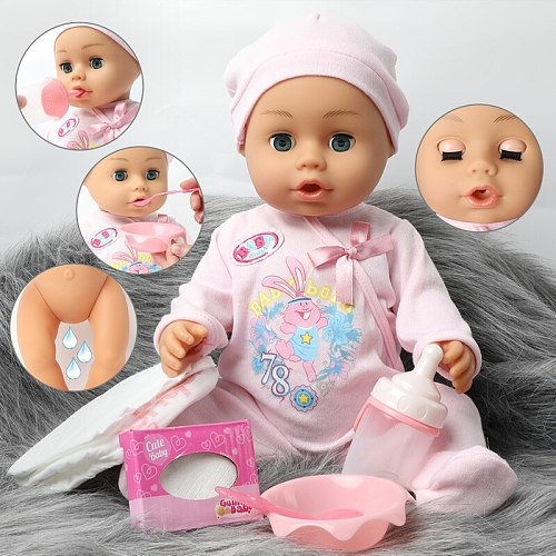 46cm lifelike Bebe reborn doll waterproof 18 inch Realistic full Soft silicone Baby doll Clothes hat set Boneca for kids toys