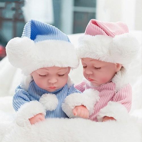 10'' Mini Reborn Babies Girl Boy Full Silicone Vinyl Cute Twins Bebe Dolls Lifelike Bebes Reborns for Toddler Bathing Doll 26cm