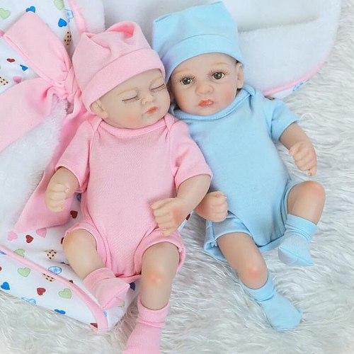 26cm Cute Twins Babies Doll Soft Silicone Reborn Simulation Mini Newborn Girl Boy Baby Doll Girls&Boys Birthday Christmas Gift