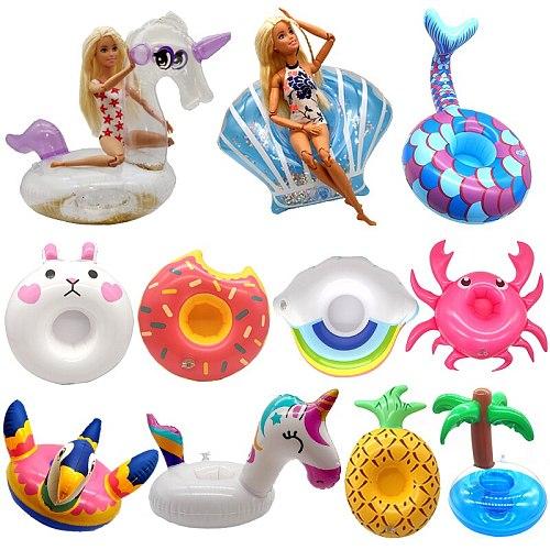 Handmade for Barbie Doll Lifebuoy Swimming Ring Toys for Children Beach Pool Bikini Fashion Girls Toy Accessories Swim Party Set