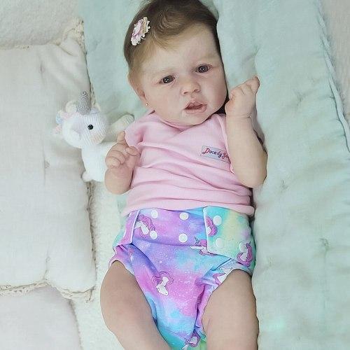 22 Inches Saskia Series Little Addley Reborn Baby Girl Doll Costume Set Best Gift- Silicone Vinyl/Cloth Body(Clothing is Random)
