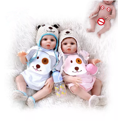 48CM bebe doll reborn toddler girl and boy doll sweet twins full body soft silicone realistic baby Bath toy waterproof