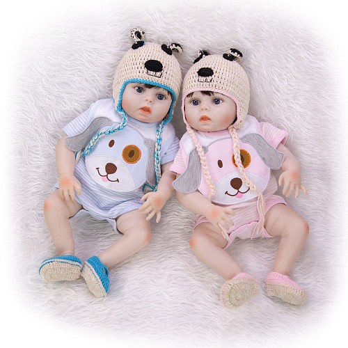 Wholesale Reborn Baby Doll For Girl And Boy Twins All Silicone Body Handmade Boneca Reborn Realista For Children's Day Gift