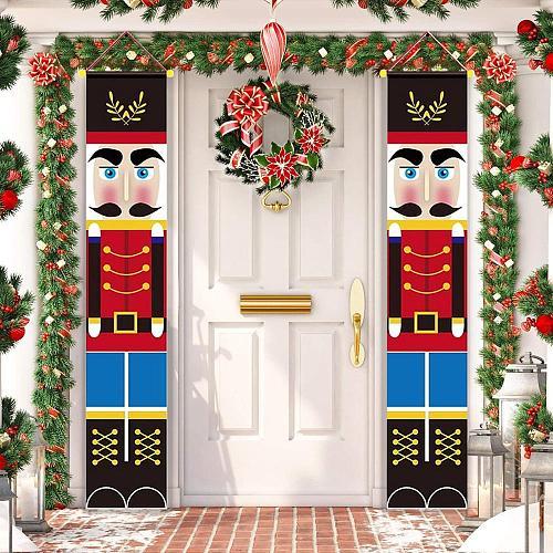 Nutcracker Soldier Banner Christmas Decor For Home Merry Christmas Door Decor 2020 Xmas Ornament Happy New Year 2021 Navidad