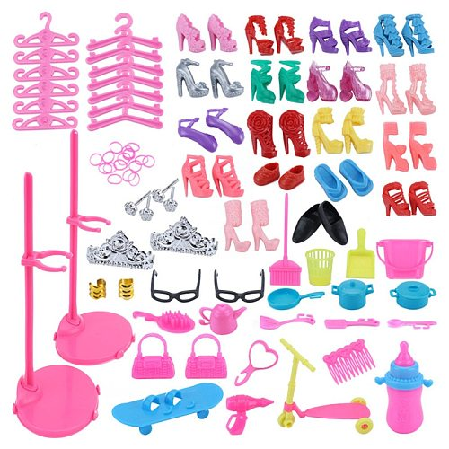 73 Item/Set Doll Accessories=18 Shoes+23 Hair Accessories+16 Doll House Furniture+12 Hangers+2 Glasses+2 Bags for Barbie Doll
