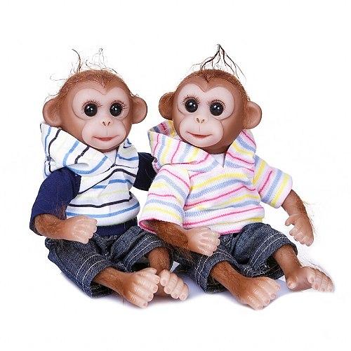 Realistic Monkey 26CM Child Reborn soft Silicone Reborn Baby Dolls Boy Girl Twins Vinyl Mini Doll Toy Bebes Reborn Bonecas Toys