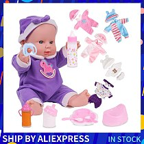 12 inches Reborn Baby Dolls Purple Pink Clothes Silicone Artificial Toys For Girls Birthday Gift Rubber Reborn Baby Girl Dolls