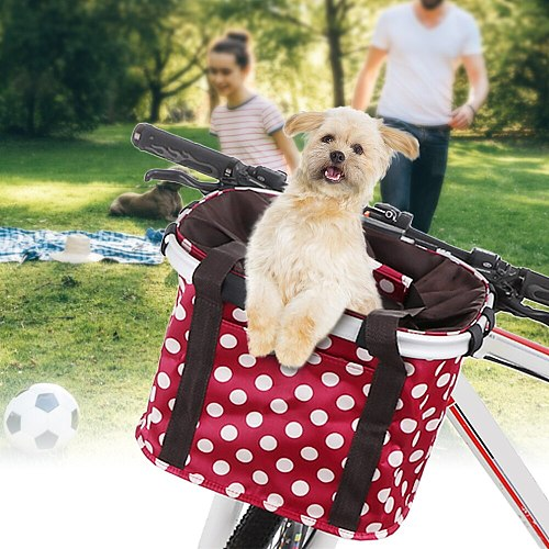 Bike Basket Collapsible Bicycle Handlebar Basket Quick-release Cycling Pet Dog Cat Carrier Bag