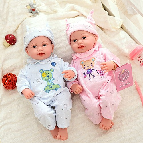 Itouch Function 45CM Smile Reborn Dolls Toys Plush Body Doll Realitstic Baby Doll Soft Stuffed Lifelike Bebe Reborn Toddler Toys (Please see the video)