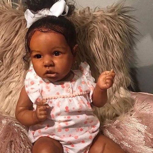 22 Inches Saskia Series Sutton Reborn Baby Girl Doll Costume Set with Black Skin -Silicone Vinyl /Cloth Body (Clothing Random)