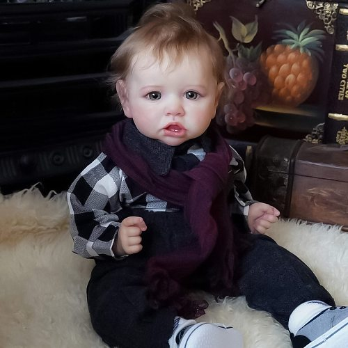 22 Inches Saskia Series Little Bently Reborn Baby Doll Costume Set Christmas Gift - Silicone Vinyl/Cloth Body (Random Cloth)