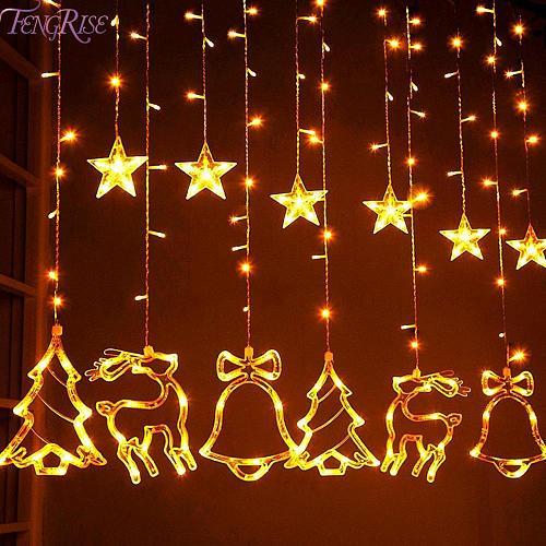 Elk Bell String Light LED Christmas Decor For Home Hanging Garland Christmas Tree Decor Ornament 2020 Navidad Xmas Gift New Year
