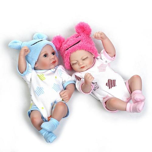 25cm Soft silicone reborn twins babies lifelike mini newborn girl boy baby doll birthday present gift