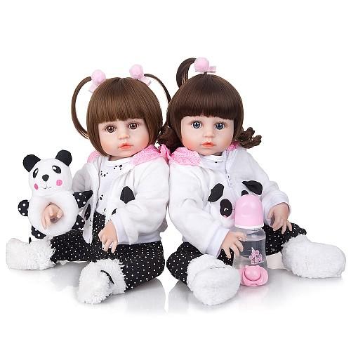 19 Inch Bebe Reborn Menina Full Silicone Body Likelife Beautiful Twins Reborn Babies Doll For Children Birthday Gift