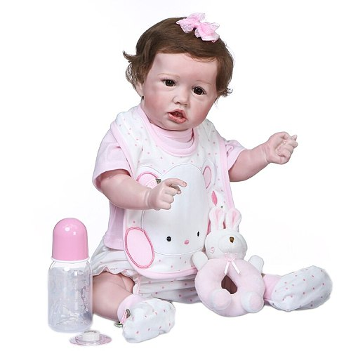 56CM new bebe reborn saskia doll reborn toddler girl baby doll lifelike real touch full body silicone rebirth infant doll