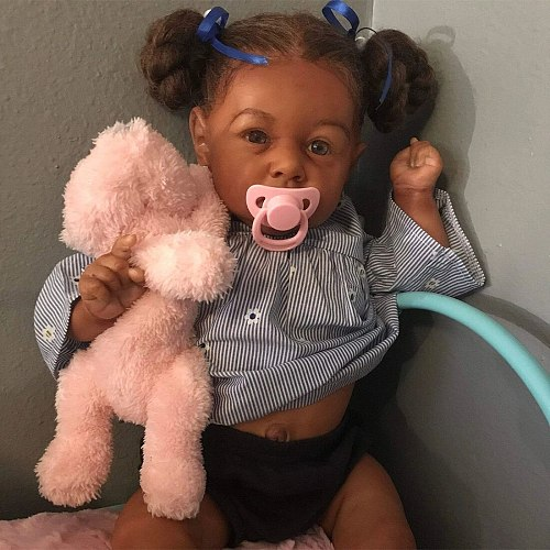 22 Inches Saskia Series Little Kelly Reborn Baby Doll Costume Accessories Set - Silicone Vinyl/Cloth Body (Clothing is Random)