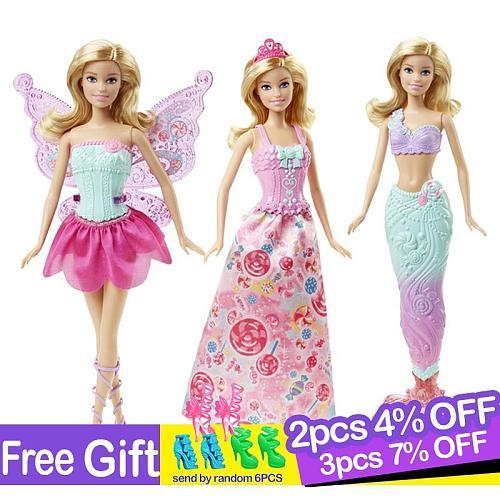 Original Barbie Brand Fairy Tale Mermaid Dress Up Doll Girl Toys Gift Set Birthday Christmas Girls Reborn Toy Gift for Children