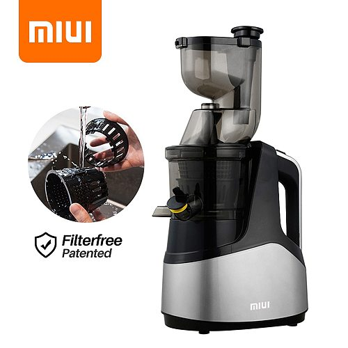 MIUI Slow Juicer Fruit Juicer 7Lv Cold Press Extractor Filter-Free patented Easy Clean Large Diamete Quiet BPA Free Multi-Color