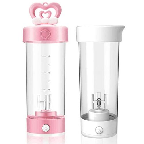 420ml Mini Portable Electric Mixing Cup Cute Heart Battery Powered Protein Powder Automatic Shaker Bottle for Fitness