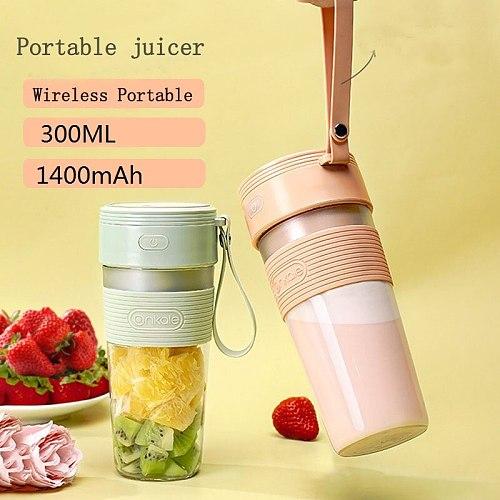 300ml Mini Portable Juicer Electric Fruit USB Rechargeable Smoothie Maker Blender Machine Sports Mini Food Bottle Juicing Cup