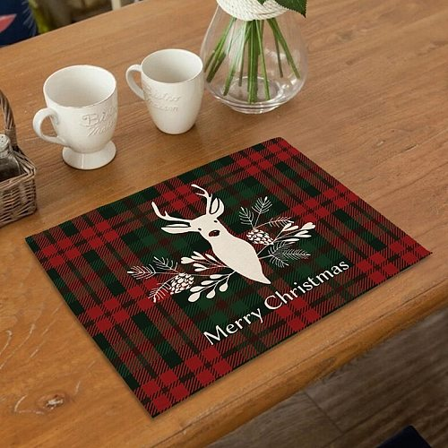 Christmas Placemat Merry Christmas Decor for Home 2020 Navidad Kitchen Cristmas Table Decor Ornaments Xmas Gifts New Year