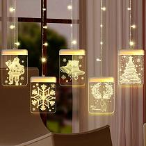 Elk Snowman Christmas Curtain Light Christmas Decor For Home 2020 Navidad Noel Cristmas Ornaments Xmas Gifts Happy New Year