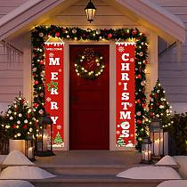 Merry Christmas Porch Sign Hanging Flag Garland Christmas Outdoor Ornaments Christmas Decoration for Home Santa Claus Decorating