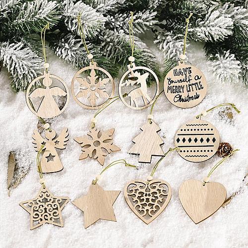 Wooden Christmas Pendants Xmas Tree Hanging Decor Christmas Ornaments 2020 Merry Christmas Decor for Home Navidad New Year 2021