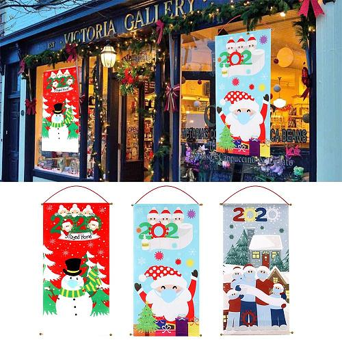 2020 Merry Christmas Door Hanging Flag Christmas Decor for Home Banner Christmas Ornaments Xmas Gift Happy New Year 2021 Navidad