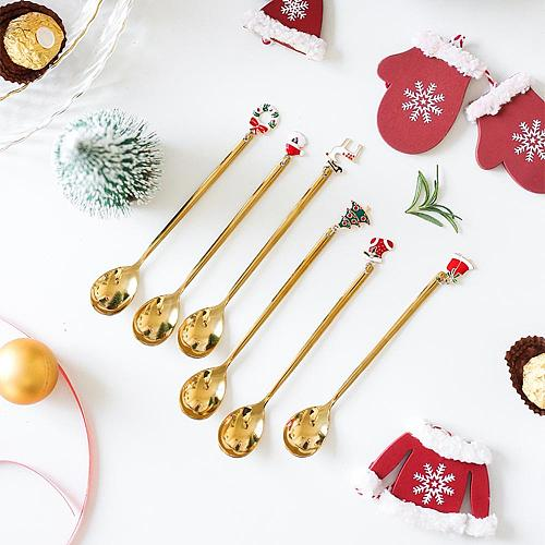 Stainless Christmas Spoon Xmas Gift New Year 2021 Merry Christmas Decorations for Home Navidad Noel 2020 Christmas Ornament