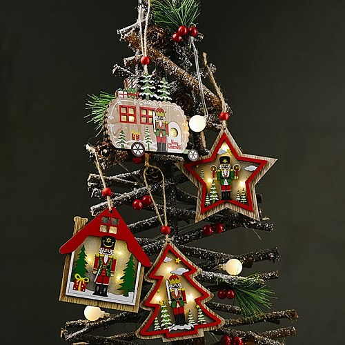Walnut Soldier Wooden Christmas Pendant Light 2020 Merry Christmas Decor for Home Cristmas Ornaments Xmas Gifts New Year