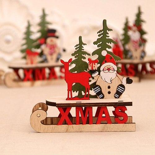 XMAS Wooden Christmas Ornaments Navidad 2020 Merry Christmas Decor for Home Noel Natal Cristmas Gifts Santa Sleigh Happy New Year 2021