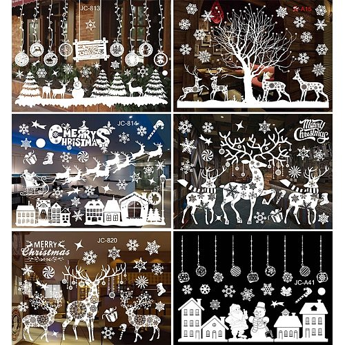 Merry Christmas Window stickers Santa Claus Decorative Wall Stickers Home Decor Bedroom Living Room Removable White Decal