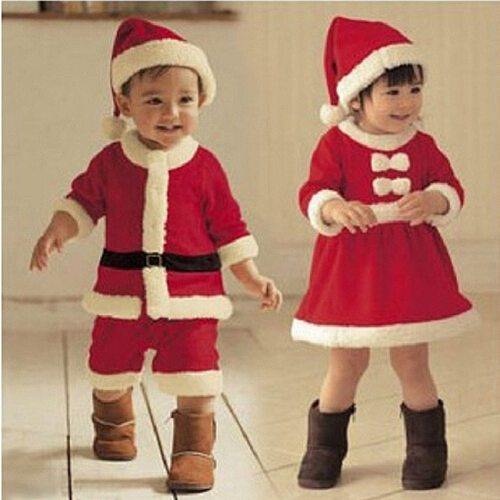 Christmas Baby Santa Claus Cosplay Costume Baby Boys Long Sleeve Clothes Baby Toddler Girls Dress Cute Infant Winter Baby Dress