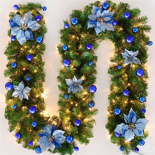 2.7 M Christmas LED Rattan Garland Decorative Green Christmas Garland Artificial Xmas Tree Rattan Banner Decoration