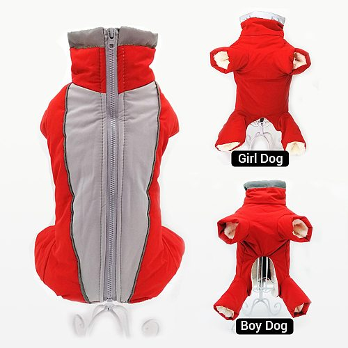 Winter Overalls for Dogs Warm Waterproof Pet Jumpsuit Trousers Male/ Female Dog Reflective Small Dog Clothes Puppy Down Jacket