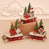 Christmas Sleigh Miniature Wooden Santa Snowman Deer Sled Ornament For Children Gift Desktop Small Ornaments Wooden Detachable