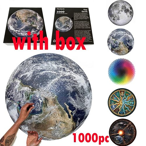 1000 Pieces Moon Earth Puzzle Assembling Difficult Jigsaw Educational Toys Party Game Family Cooperation Children Dropshipping