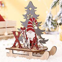 Christmas Santa Xmas Sled Ornaments Painted Sleigh Decorations DIY Wooden Jigsaw New 2020